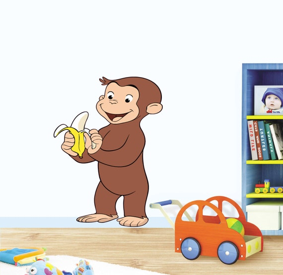 Curious george decal wall sticker art decor cartoon by for Curious george wall mural