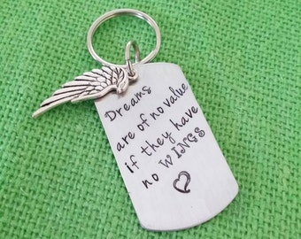 Key chain, hand stamped,personalized,angel wing, dog tag, wedding, birthday gift, friends gift, encouragement