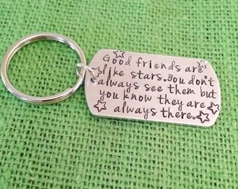 Aluminum Key chain - hand stamped-engraved- Best Friend, Grandfather, Brother,best friends,co workers, friends, neighbors