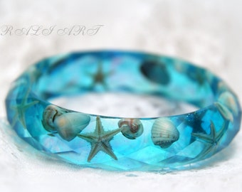 Тurquoise Resin bracelet Seashell jewelry Summer bracelet Sea bracelet Turquoise bracelet  Bangle starfish Faceted  bracelet  sea shells
