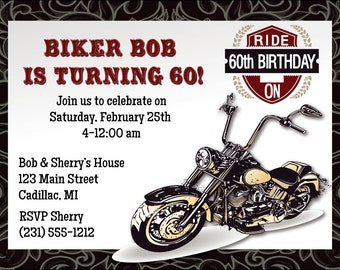 Motorcycle 60th Invitation, Motorcycle 60th Birthday Invitation, You Print