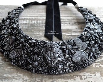Necklace with flowers and butterflies