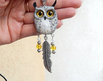 Eagle owl pendant of polymer clay jewelry,  polymer clay owl, men jewelry, animal jewelry, handmade owl, owl totem, owl pendant necklace