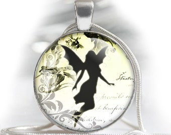 """Vintage fairies silhouettes with old letters - bottle cap images - 1'' circles, 25mm, 30mm, 1.25"""", 1.5"""" for Jewelry Making, BUY 2 GET 1 FREE"""