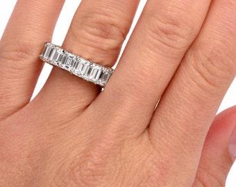 Dazzling Emerald-Cut Diamond Platinum Eternity Band Ring 10.40 Ct Size 6.5, #613601