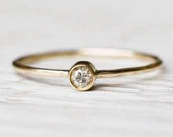 0.03Ct Diamond Engagement ring in 14k yellow gold, 14k gold ring, Diamond Engagement Ring, Anniversary Gift for Her, Solitaire Ring
