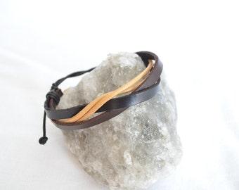 Black White Brown fashion jewelry leather bracelet for men