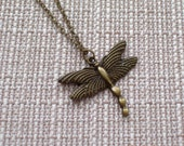 Dragonfly Necklace, Antiqued Brass Nature Pendant Necklace, Bronze Dragonfly, Serenity Jewelry, Brass Plated Chain