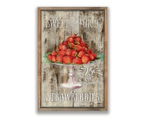 "Vintage Strawberries sign Fruit signs kitchen signs Kitchen wall art Cottage signs Farmhouse signs Cottage decor Kitchen decor 12""x19""x2"""