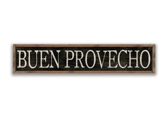 Buen Provecho wooden sign with framed out in reclaimed wood frame.Approx. 36x8x2 inches. Spanish sign Spanish kitchen signs Mexican cafe