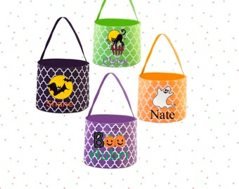 SALE -Embroidered Personalized Halloween Buckets, Quatrefoil Halloween Buckets, Monogram Halloween Buckets, Childrens Trick or Treat Buckets