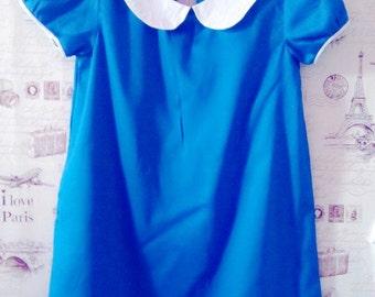 Girl mod dress - peter pan collar Royal Blue dress