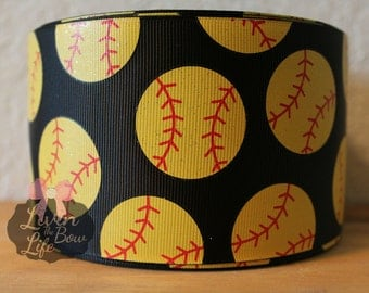 "Black Glitter Softball 3"" Grosgrain Ribbon. Cheer ribbon!!! - 5 YARDS!!"