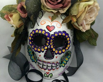 Day of the Dead white Catrina mask- Roses love