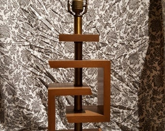 James Mont geometric table lamp in bleached beechwood and brass circa 1940