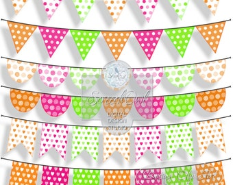 ONE DOLLAR SALE -  Bunting Clipart, Nursery, Collage Sheet, Scrapbooking, Card Making, Printable Paper Craft Supplies