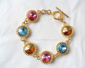 Rainbow jewel bracelet with Swarovski crystals
