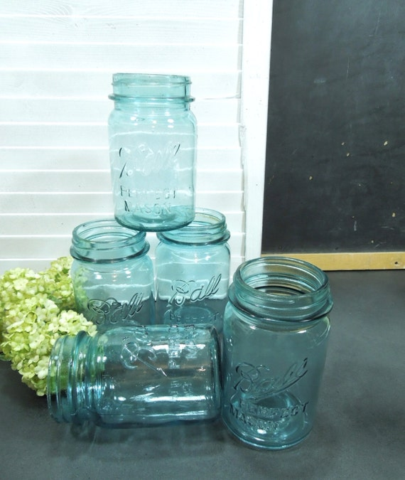 ball jars blue 5 vintage glass cottage chic decor by