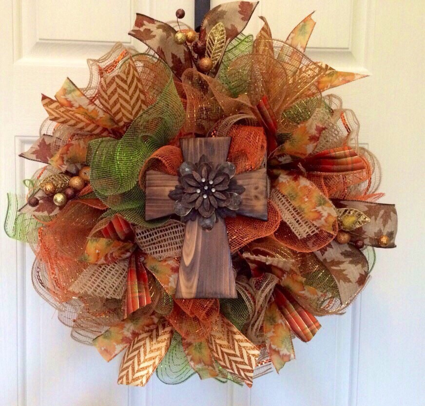 Christmas Wreaths For Double Front Doors: Fall Deco Mesh Wreath Fall Wreath With Cross By