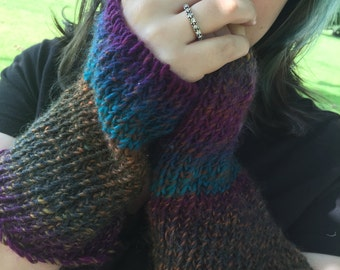 Purple and Brown With a Splash of Teal Fingerless Gloves