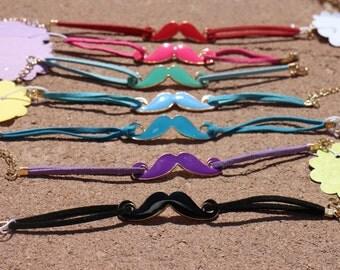 Moustache Bracelets.Black Moustache Bracelet.Fuchsia Moustache.Red Moustache.Turquoise Moustache.Purple Moustache.Black Moustache.