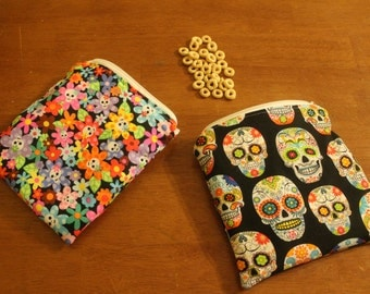 Set of flowered skull reusable snack/sandwich bags