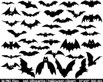 Bat Silhouette Clipart | Bat Clipart | Black Bat Clipart | Halloween Clipart