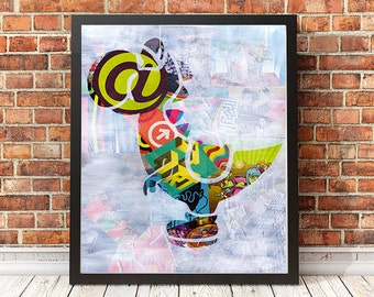 Super Mario, Yoshi Wall Art Print, Christmas gift ideas, Mixed Media collage art, Video Game, Nintendo, Playstation, Xbox, Gaming