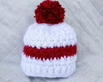 Winter Baby Hat, Christmas Hat, Crochet Hat, Pom Pom Beanie, Winter Baby Hat,  Crochet Baby Girl Hat, Crochet Baby Boy Hat, Girl Hat