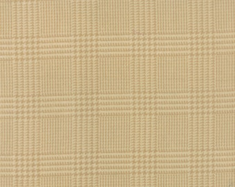Flannel Fabric by the yard, Wool & Needle Flannels III Hounds Tooth Plaid Tan by Primitive Gatherings for Moda Fabrics, 1132 11F
