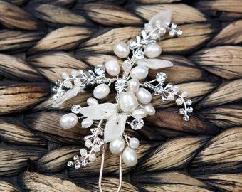 Wedding Comb, White Pearl Wedding Hair Comb, Bridal Hair Comb