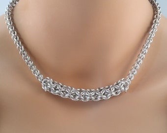 Chainmaille Tube Necklace, Chainmail necklace, Chain mail necklace, chain maille necklace