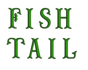 Fish Tail Monogram Embroidery Font Upper Case Satin Stitch Digitized -Instant Download-1,2,3 inch