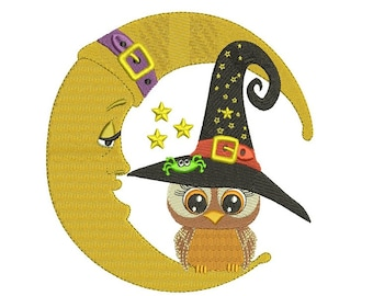 Owl Sitting on The Moon Wearing Witch Hat Halloween Filled Machine Embroidery Digitized Design Pattern  - Instant Download -4x4 , 5x7,6x10