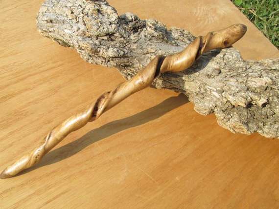 Twisted ash wooden magic wand carved of wood real witch