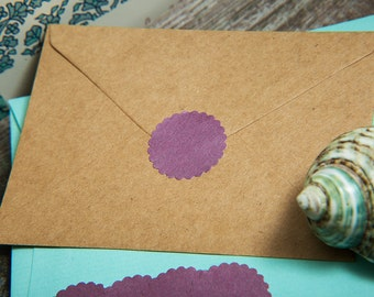 Plum Purple Envelope seals, wedding stickers stationary. Scalloped Round Favour stickers, gift bag. Matt Pearl shimmer grape stickers seals.