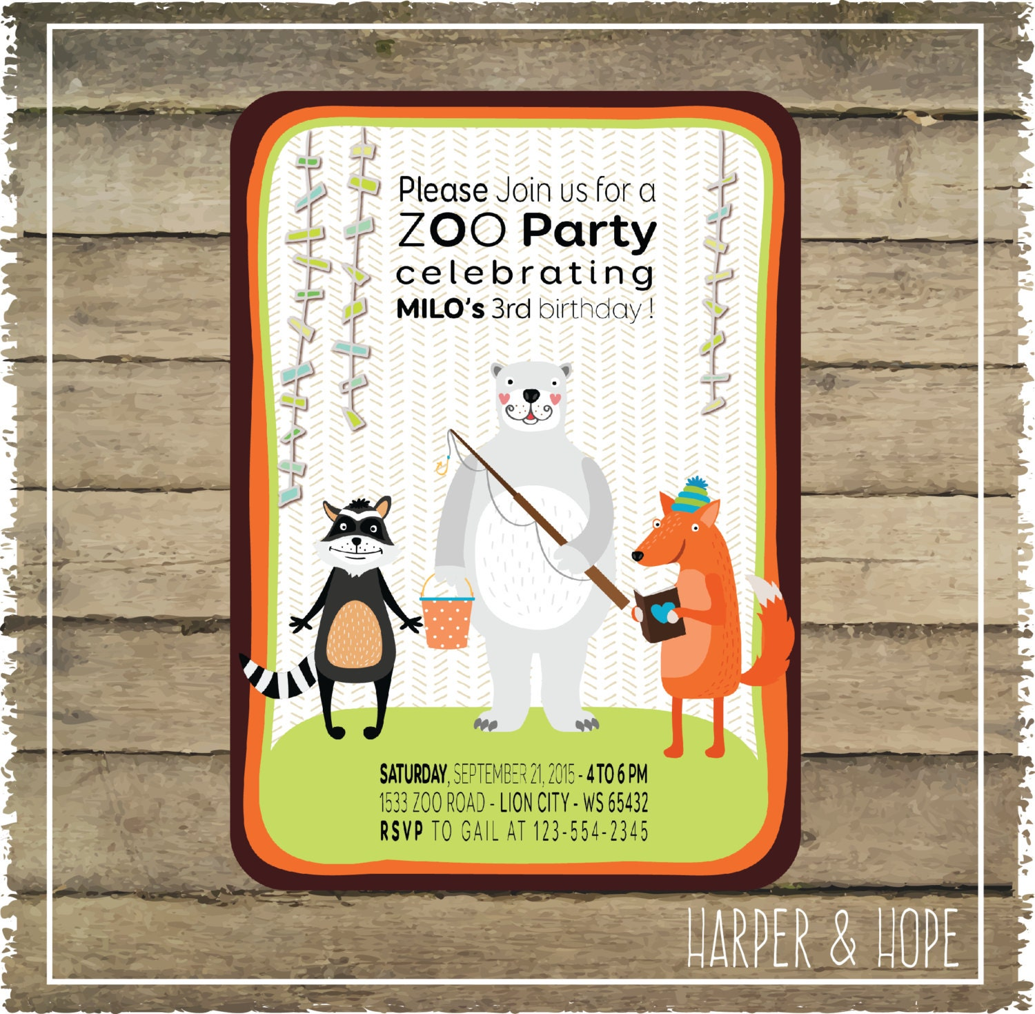 Zoo Party 3rd Birthday Invitations Printables By HarperandHope