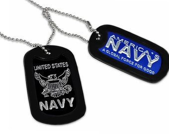 U.S. Navy Logo Design Military Style Dog Tag Necklace 24 Inches-AN060