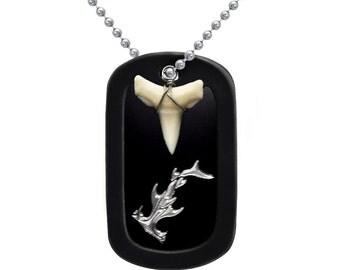 Hammerhead Shard with Real Shark Tooth Aluminum Dog Tag Necklace - DOJAN108