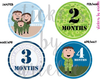 Month by Month Baby Stickers - Army Theme