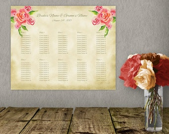 Romantic Printable Wedding Seating Chart Template, Seating Plan, DIY Seating Chart, Wedidng Sign, 16x20 Seating Poster, Instant Download