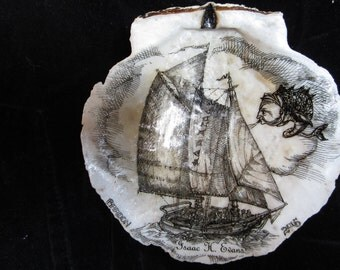 SCHOONER ISAAC EVANS on Maine Scallop Shell