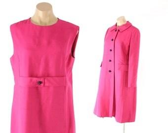 Vintage 60s Dress Set Shift Dress Matching Jacket Party Dress Dark Pink Silk Dress Blazer 1960s Sleeveless Dress Mod Suit Large L