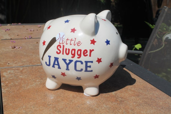 Small Piggy Bank Ceramic Personalized In Vinyl Baby Gift Kids