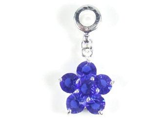 Sapphire Charm, Dangle Bead, Flower Charm, Large Hole Bead, European Bead, Charm Bead, Charm Bracelet, European Charm, Big Hole Bead, Blue