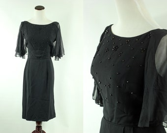 50/60s Black Beaded Party Dress w/ Flutter Sleeves