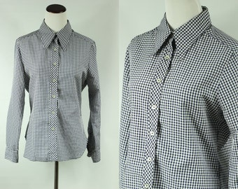 70s Blue Gingham Long-sleeve Button-up