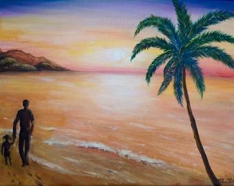 BEACH PAINTING,custom painting,original art,kids on a beach,siblings on a beach