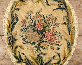 Oval Panel of Handmade Needlework, Circa 1890