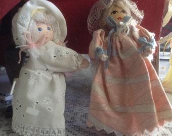 2 Vintage Wooden Headed Little Dolls